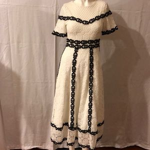 MAJE Embroidered Lace Dress White/Black  Size 1